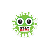 Adorable stay home green virus sticker with face mask
