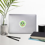 Stay home green cute virus with face mask sticker 3x3 inches on desk