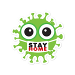 Stay home green cute virus with face mask sticker