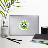 Stay home green cute virus with face mask sticker 4x4 inches on desk