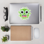 Large stay home green cute virus with face mask sticker on cool computer 5.5x5.5 inches