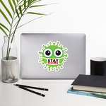 Stay home green cute virus with face mask sticker 5.5x5.5 inches on desk