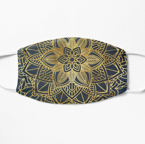Stylish blue and gold mandala fashion face mask with geometric pattern