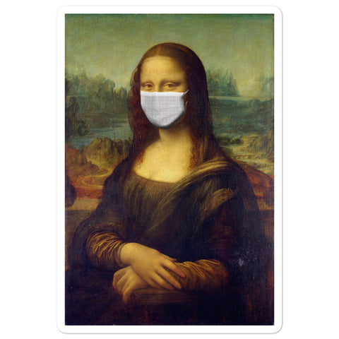 Mona Lisa with face mask sticker
