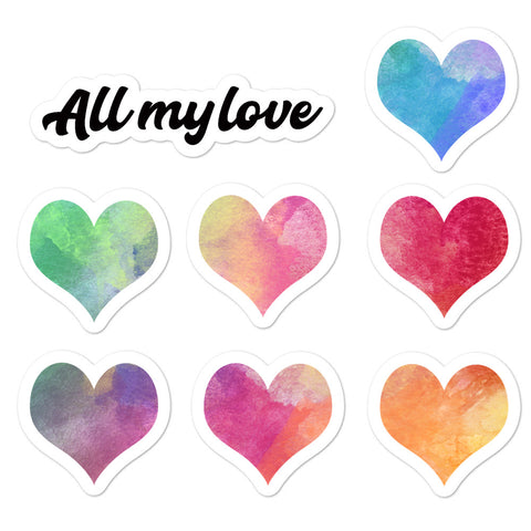 All my love watercolor hearts stickers