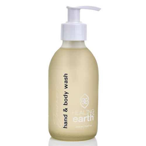healing journeys hand & body wash 200ml in a white frosted glass bottle