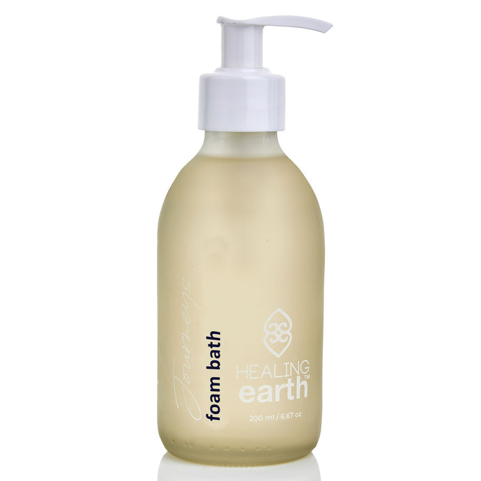 healing journeys foam bath 200ml in a white frosted glass bottle
