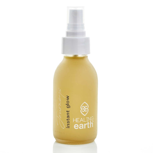 healing journeys instant glow 100ml in a white frosted glass bottle