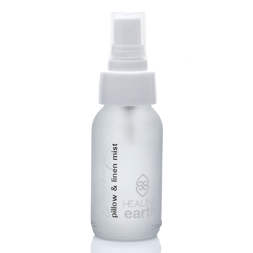healing journeys pillow and linen mist spray 50ml in a white frosted glass bottle