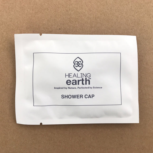 Shower Cap in an eco-friendly 100% biodegradable stone paper sachet. Sold by SR Amenities Hotel and Spa Supplies.