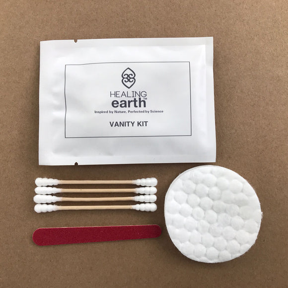 Vanity Kit with earbuds, emery board and cotton rounds in an eco-friendly 100% biodegradable stone paper sachet. Sold by SR Amenities Hotel and Spa Supplies.