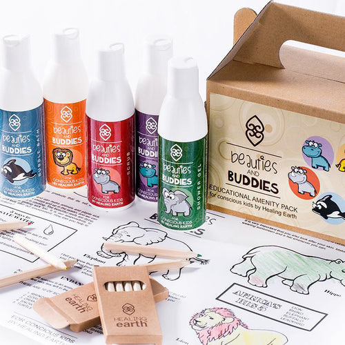 Beauties and Buddies Box Set with five products, colouring poster and crayons