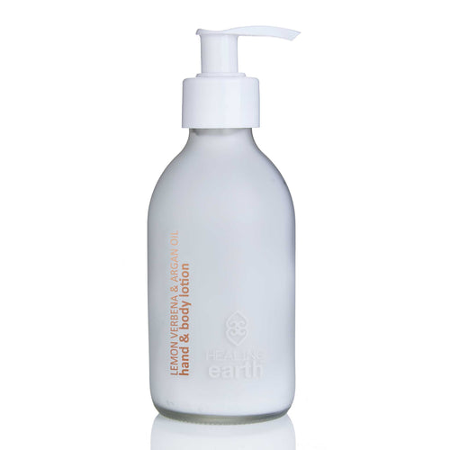 lemon verbena hand & body lotion 200ml white frosted glass