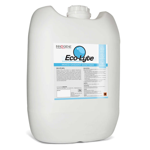 ECO-LYTE NTL in a 25 litre container. Non-toxic, chemical free, biodegradable disinfectant. Buy at www.sramenities.co.za.