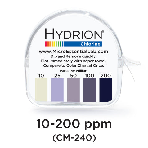 Hydrion Chlorine Test Kit CM240 to test free active chlorine level of sanitizer. Buy at www.sramenities.co.za