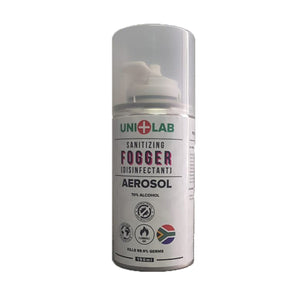 UNI+LAB Sanitizer Aerosol 150 ml in can kills 99.9% of household germs and viruses including coronavirus and salmonella.
