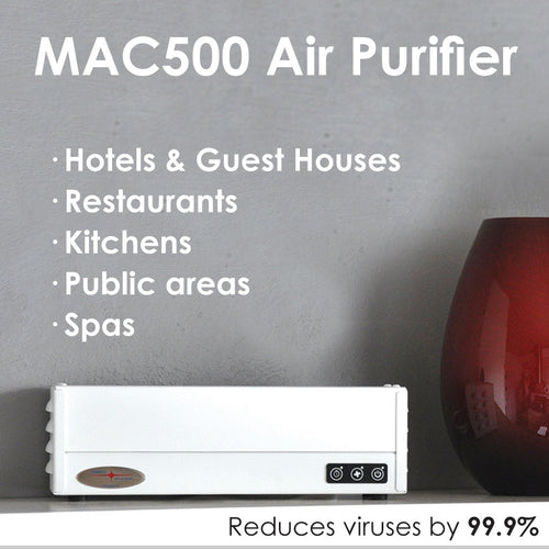 JIMCO MAC500 Air Purifier device to reduce viruses in air by 99.9% in three hours. Buy at www.sramenities.co.za.