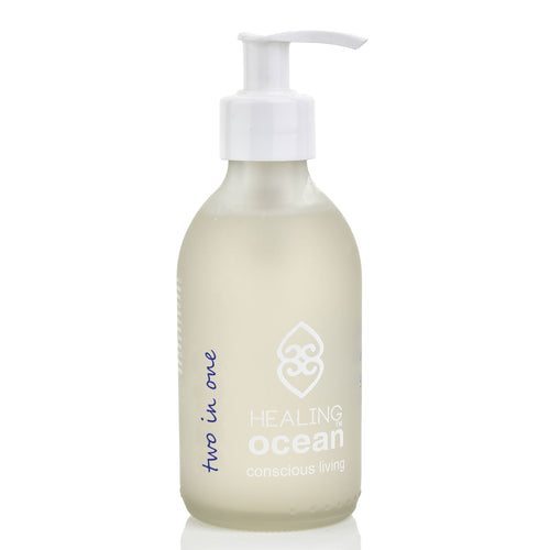 healing ocean two in one conditioning shampoo 200ml in a white frosted glass bottle