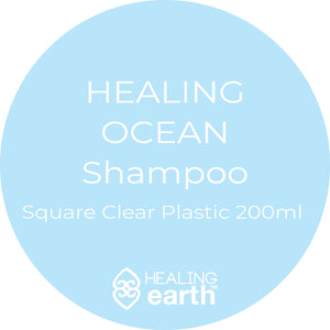 healing ocean shampoo 200ml in a clear plastic square bottle