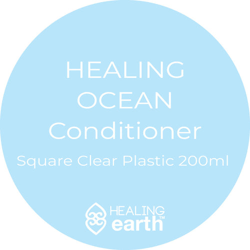 healing ocean conditioner in a 200ml clear plastic square bottle