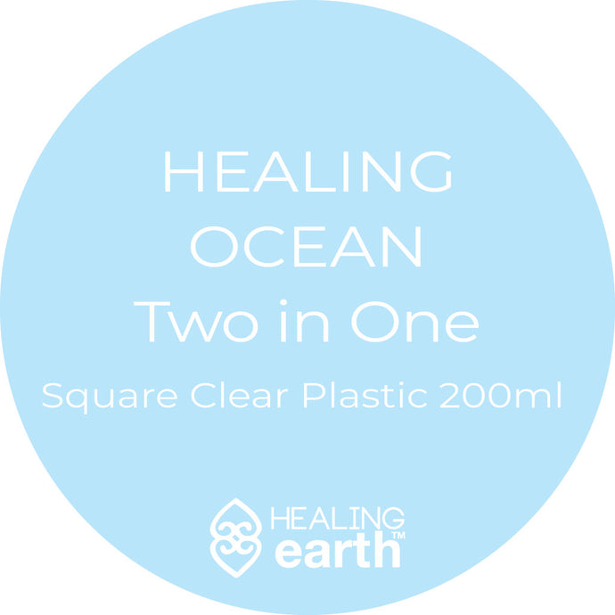 healing ocean two in one conditioning shampoo 200ml in a clear plastic square bottle