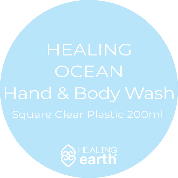 healing ocean hand and body wash 200ml in a clear plastic square bottle