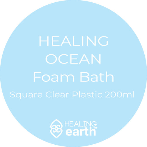 healing ocean foam bath 200ml in a clear plastic square bottle