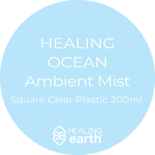 healing ocean ambient mist room spray 200ml in a clear plastic square bottle