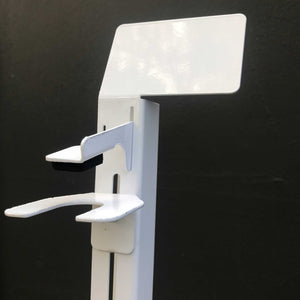 Close-up of the hands free hand sanitizer stand and dispenser