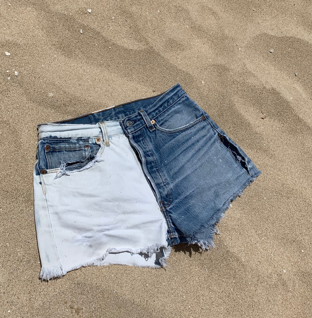 Bleach Dyed Denim Shorts