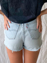 Load image into Gallery viewer, Lightwash Destroyed Denim Shorts