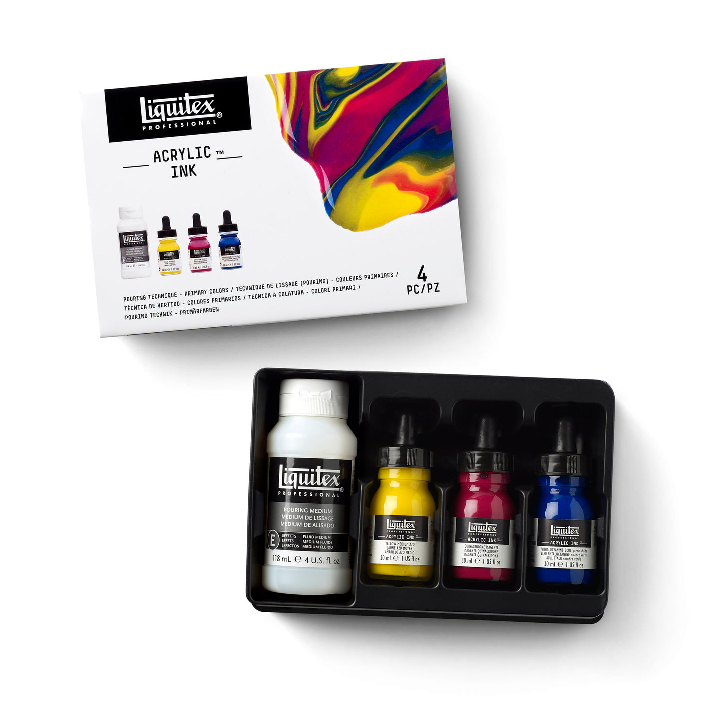 ACRYLIC INK POURING SET PRIMARY COLOURS