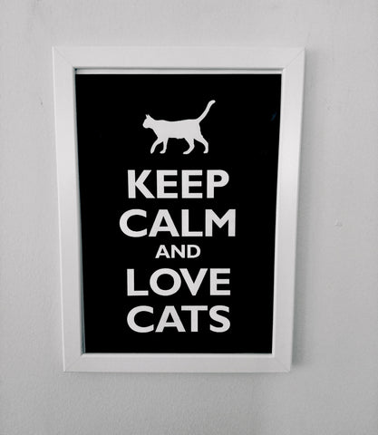 Çerçeveli Tablo - Keep Calm and Love Cats