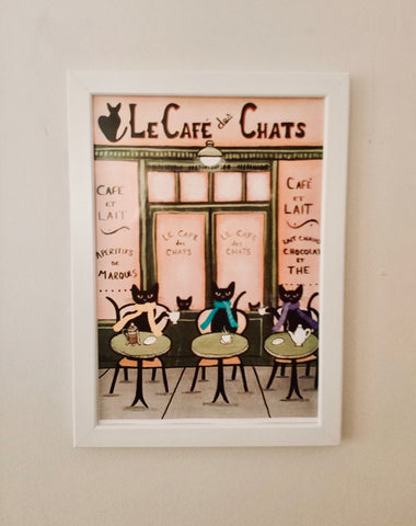 Çerçeveli Tablo - Le Cafe des Chats