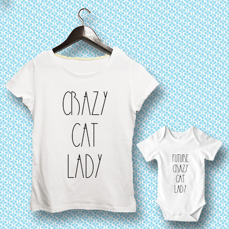 T-shirt ve Bebek Body - Crazy Cat Lady