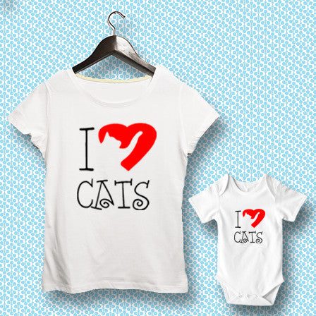 T-shirt ve Bebek Body - I Love Cats