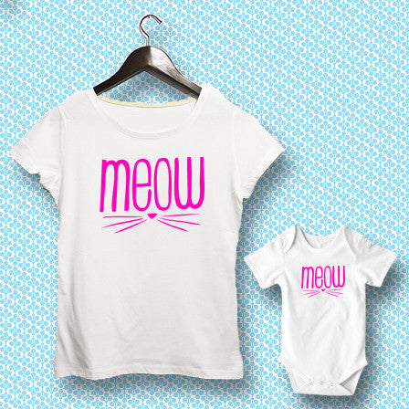 T-shirt ve Bebek Body - Meow