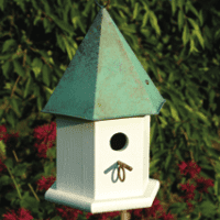 Copper Songbird  - White / Vedigris Patina Roof - Birdhouse.