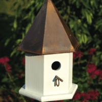 Copper Songbird  - White / Brown Patina Roof - Birdhouse.