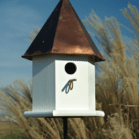 Copper Songbird Deluxe - White / Brown Patina Roof - Birdhouse.
