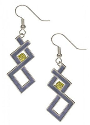 Sullivan Auditorium Earrings - Pale Green Bead and Pastel Blue Enamel