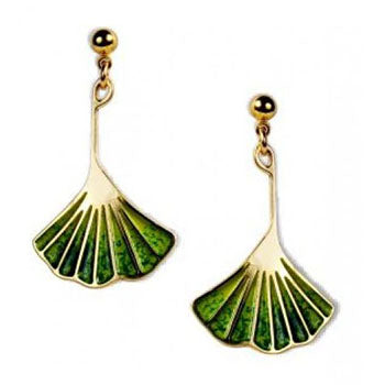 Ginkgo Leaf Light and Dark Green Enamel Earrings
