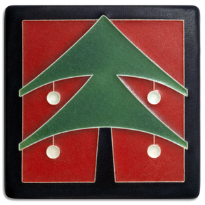 "Christmas Tree Tile, Red 4"" x 4"""