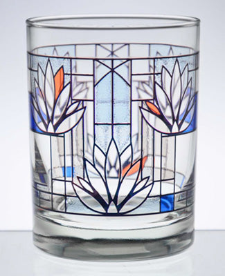 Frank Lloyd Wright Waterlilies Tumbler Glass, Set of 2