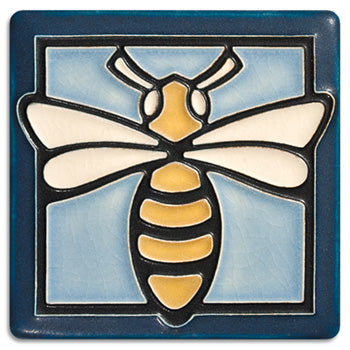 Light Blue Bee Tile 4""