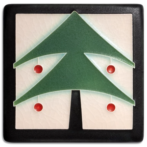 "Christmas Tree Tile, Peppermint 4"" x 4"""