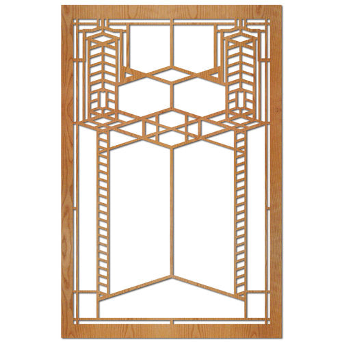 Robie House Art Glass Double Element Wood Panel.