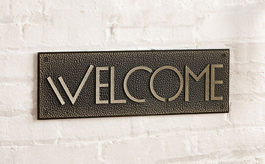 Welcome Sign Plaque - Exhibition Font