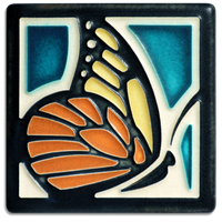 "Turquoise Butterfly Tile - 4"" x 4"""