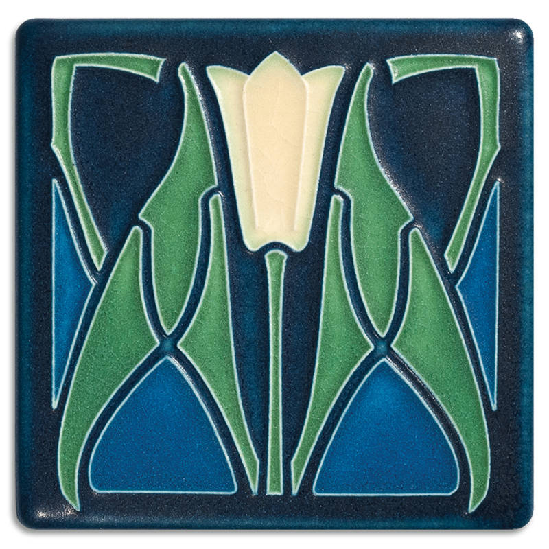 "Lotus - Blue Tile - 4"" x 4"""
